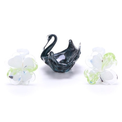 Murano Handblown Art Glass Swan Bowl and Cristalleria Arzanese Flowers