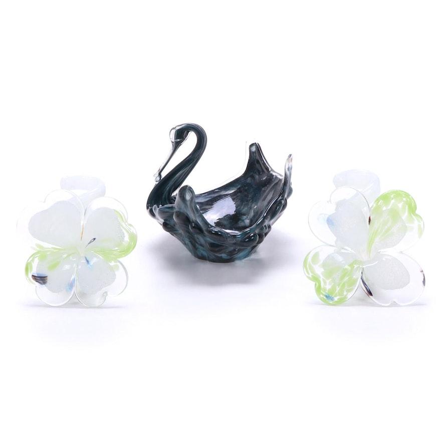 Murano Handblown Art Glass Swan Bowl and Cristalleria Arzanese Flowers