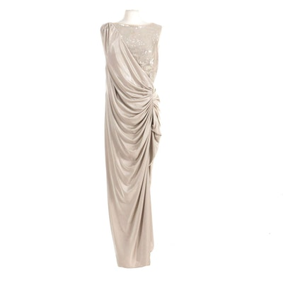 Adrianna Papell Collection Wrap Style Column Gown with Sequin Accent