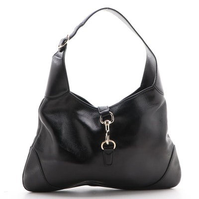 Gucci Jackie O Bouvier Medium Hobo Bag in Black Leather