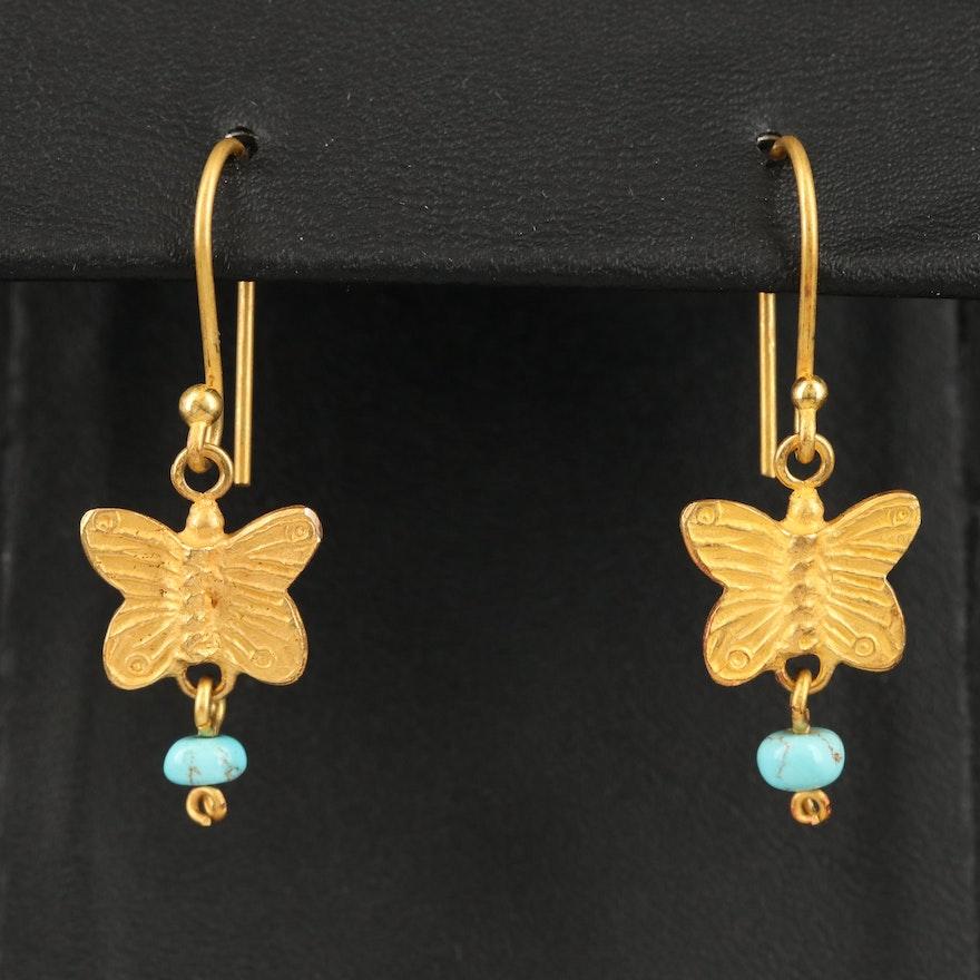 18K Turquoise Butterfly Dangle Earrings