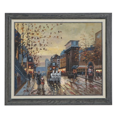 Impressionist Style Oil Painting of Street Scene, 21st Century