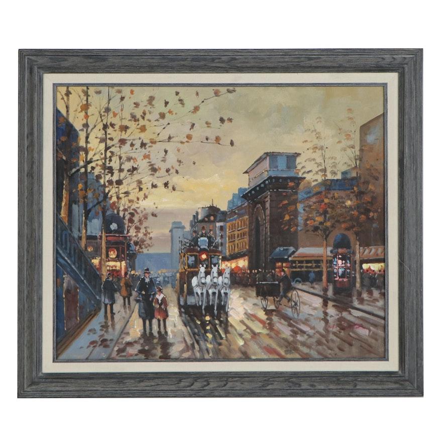 Impressionist Style Oil Painting of Street Scene, 21st Century