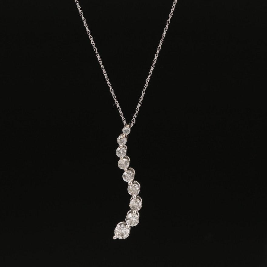 10K 1.00 CTW Diamond Graduated Journey Pendant on 14K Singapore Chain Necklace