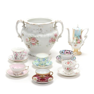 Alfred Meakin Handled Vase with Other Teacups, Saucers and Coffee Pot