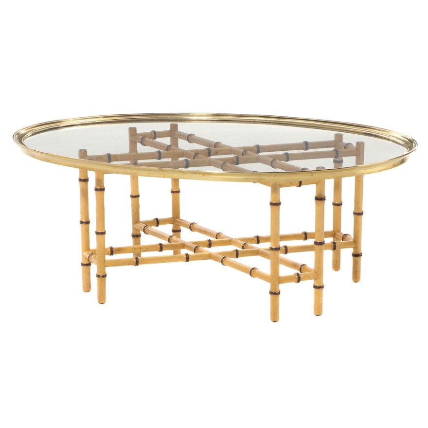 Glass and Brass Tray Top Bamboo-Turned Coffee Table