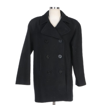 Signature Expressions Black Wool Double-Breasted Pea Coat