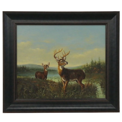 Wildlife Oil Painting with Deer, 21st Century