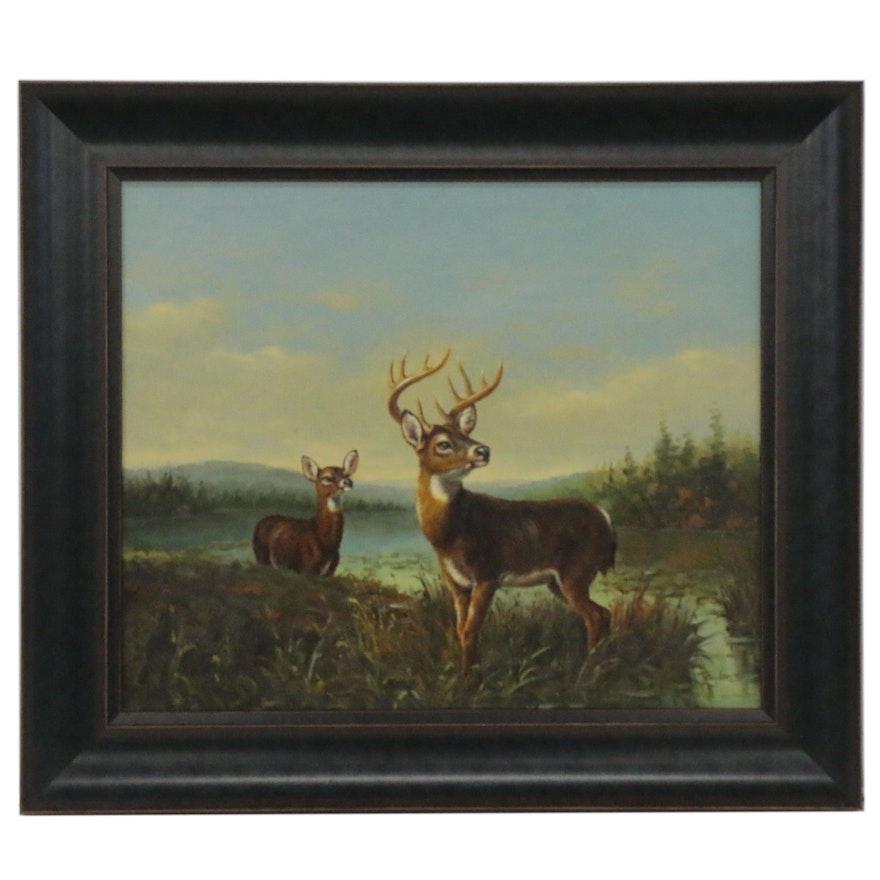 Wildlife Oil Painting with Deer, 21st Century