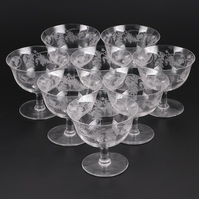 "Crystalex Bohemia Glass ""Thistle"" Sherbet Cups, Mid to Late 20th Century"