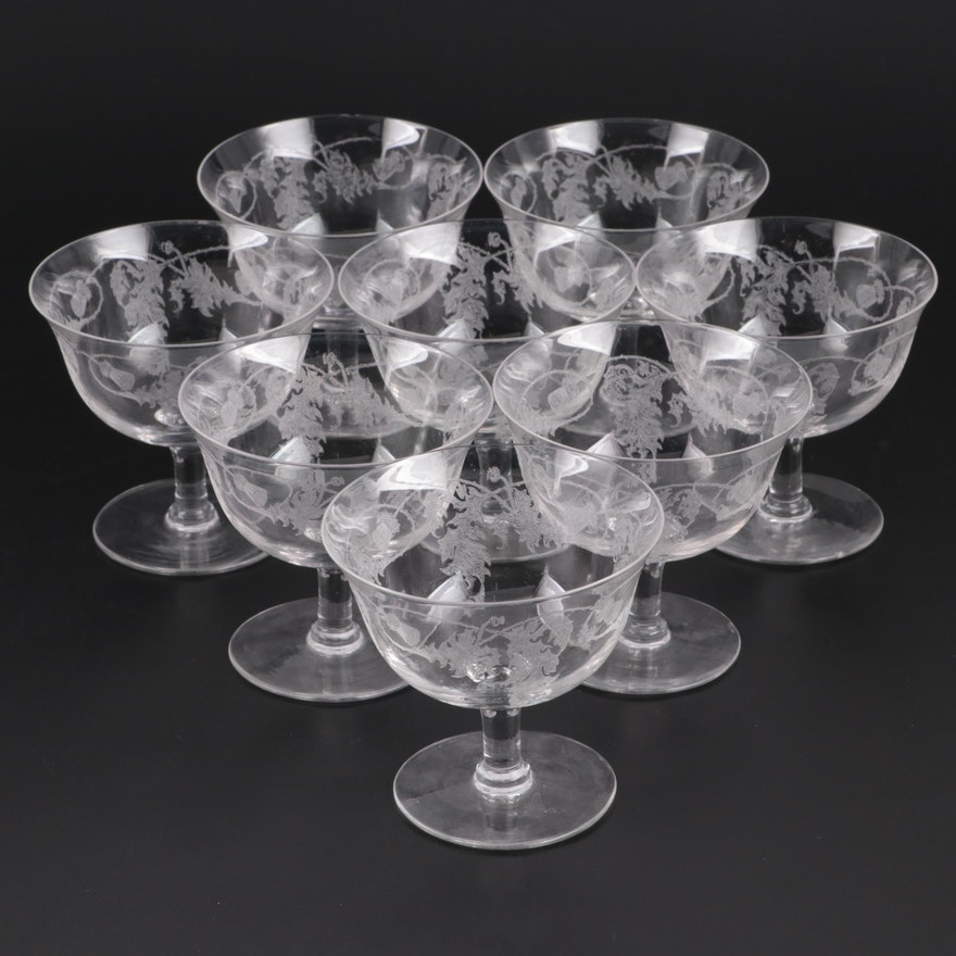 """Crystalex Bohemia Glass """"Thistle"""" Sherbet Cups, Mid to Late 20th Century"""