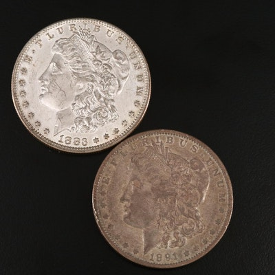 1883-O and 1891-O Morgan Silver Dollars