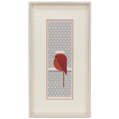 "Charley Harper Serigraph ""Cool Cardinal,"" 1974"