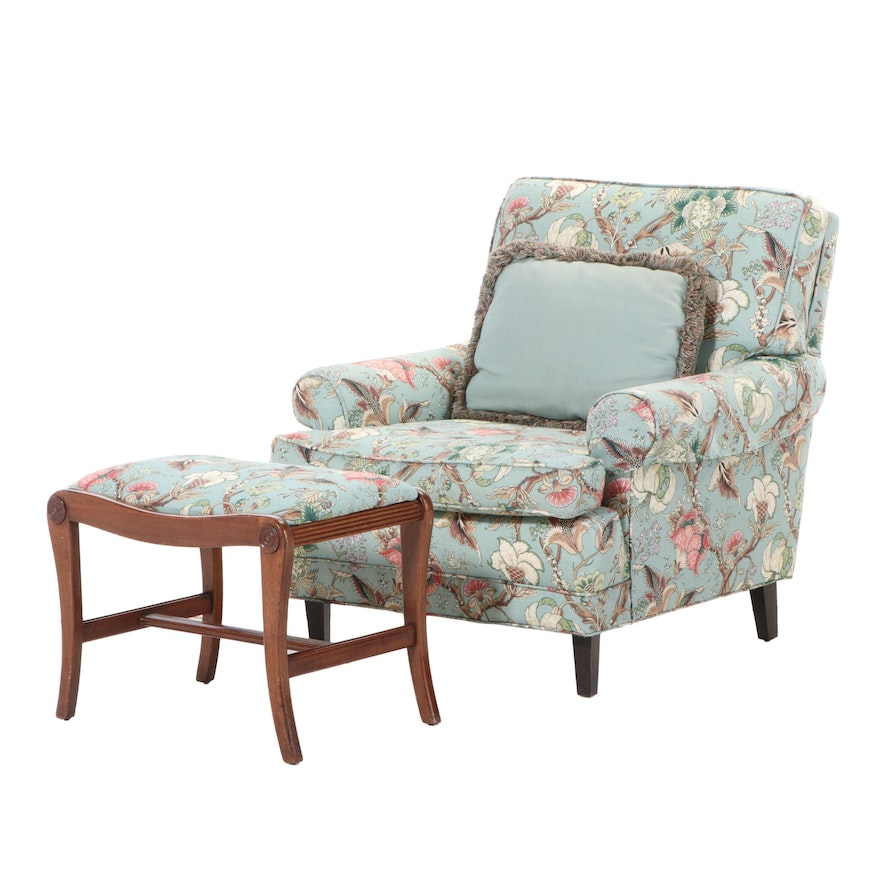 Floral Upholstered Armchair and Footstool, Late 20th Century