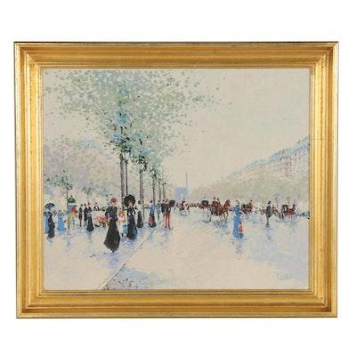 Sue Lebrón Impressionist Style Street Scene Oil Painting