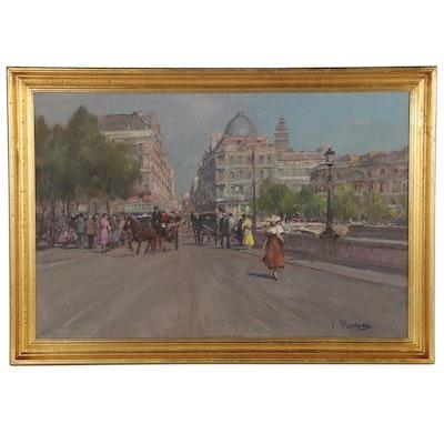 V. Mariani Oil Painting of European Street Scene