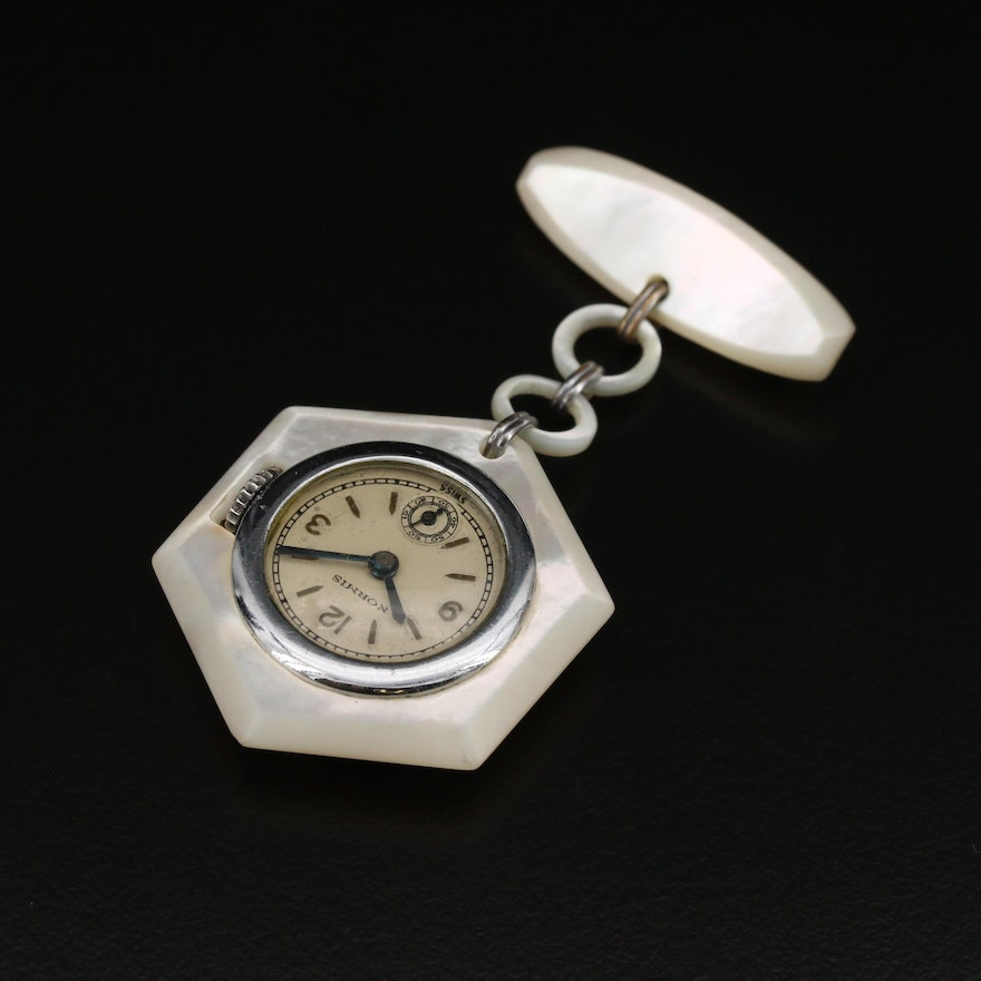Mother of Pearl Swiss Normis Brooch Pin Watch
