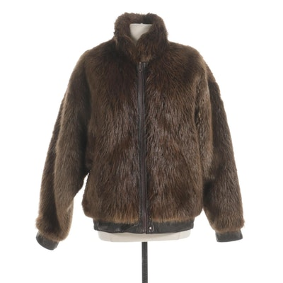 Beaver Fur and Leather Reversible Zippered Dolman Sleeve Jacket