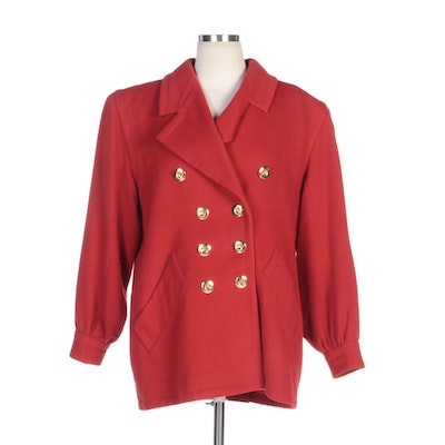 Yves Saint Laurent Rive Gauche Red Wool Double-Breasted Coat with Banded Cuffs