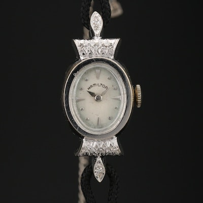 14K Hamilton Diamond Stem Wind Wristwatch