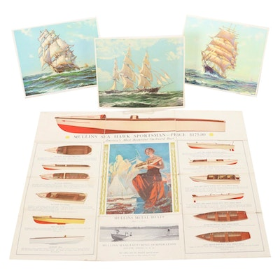Offset Lithographs of Clipper Ships and Mullins Metal Boats Catalog