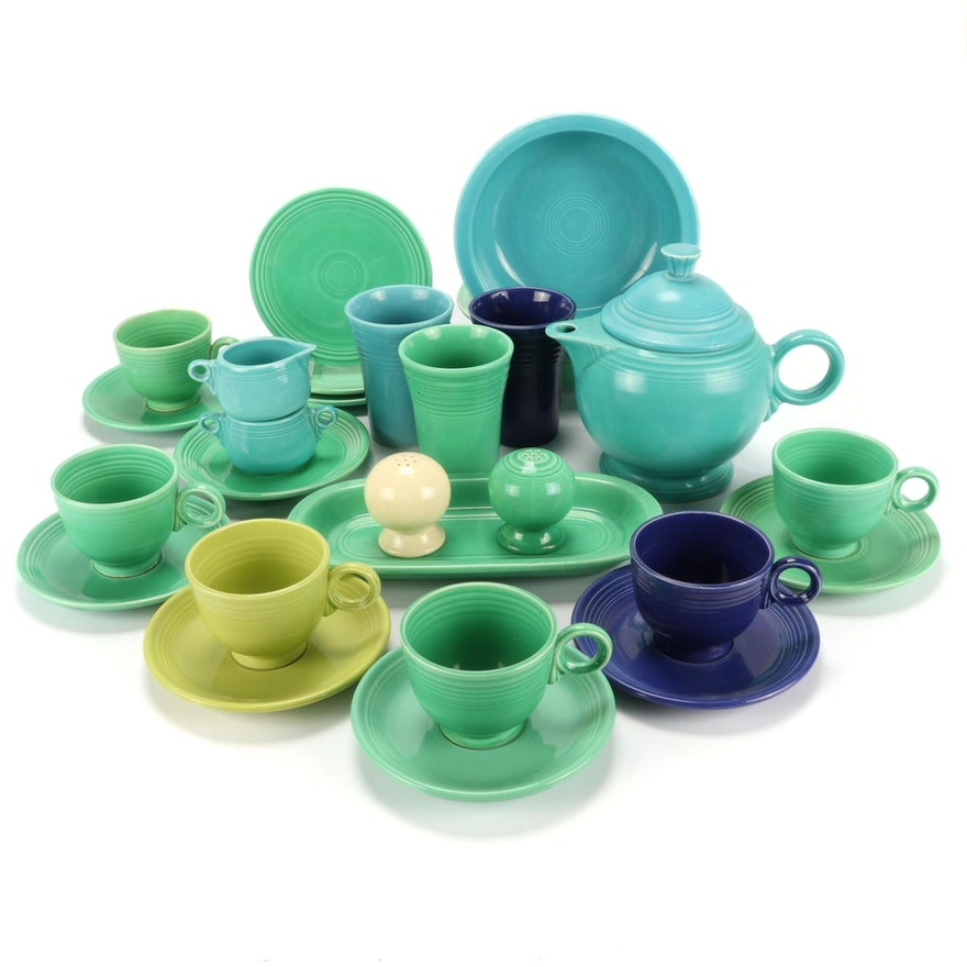 """Homer Laughlin """"Fiesta"""" Cups, Saucers, Teapot and Other Table Accessories"""