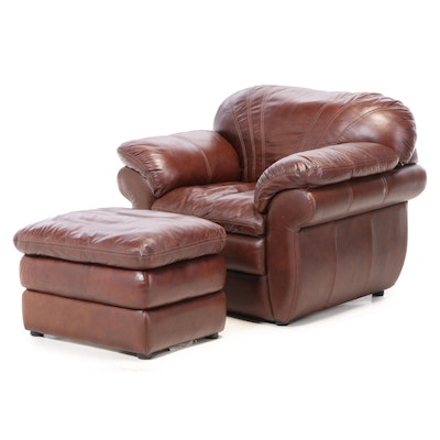 La-Z-Boy Saddle Brown Leather Lounge Chair with Ottoman