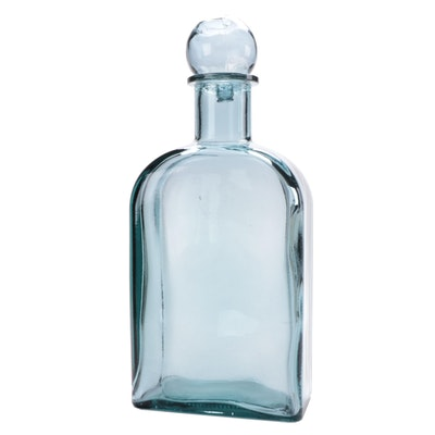 Smokey Blue Glass Decanter with Ball Stopper, Contemporary