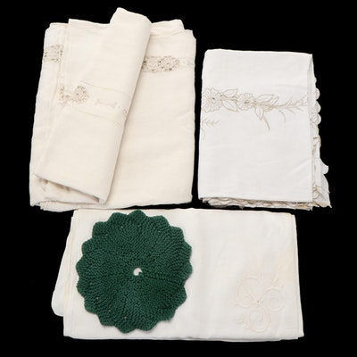 Embroidered Whitework Tablecloths with Knit Doily