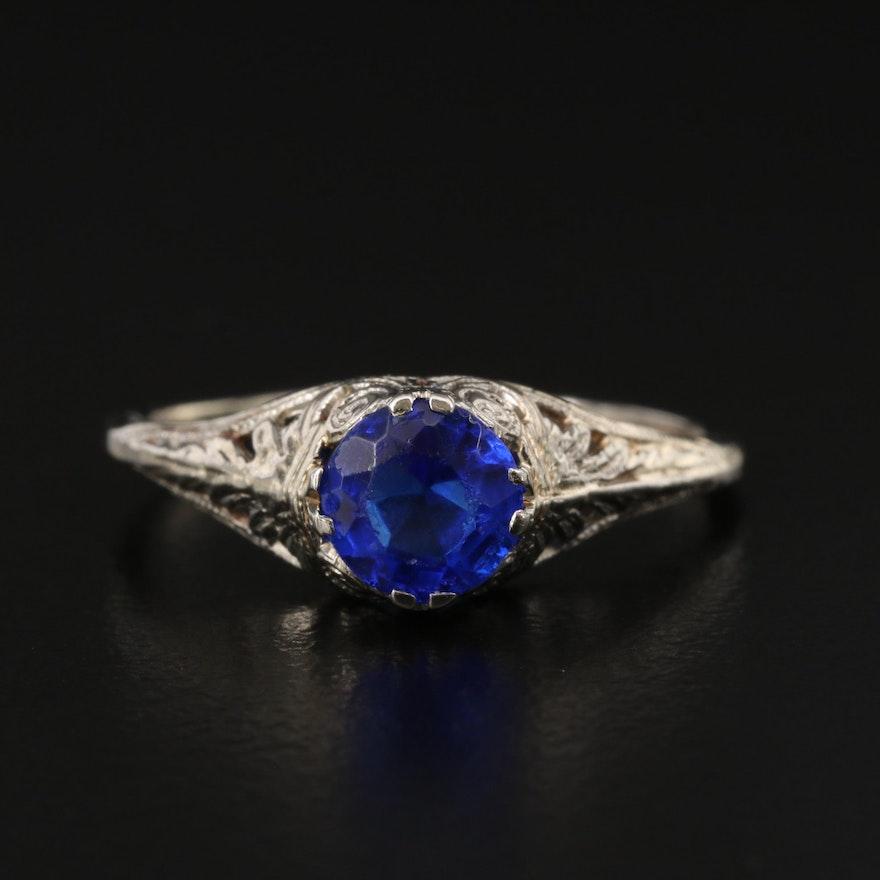 Vintage 10K Blue Glass Openwork Ring