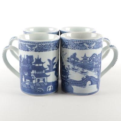 Metropolitan Museum of Art Chinese Blue Willow Reproduction Mugs