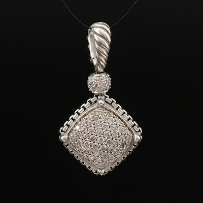 David Yurman Sterling Silver 1.00 CTW Pavé Diamond Enhancer Pendant