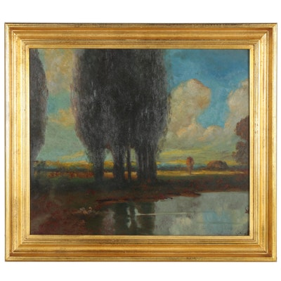 Oil Painting of Lakeside Landscape, Early 20th Century