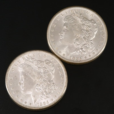 Uncirculated 1884-O and 1885-O Morgan Silver Dollars