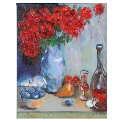 "Larissa Sievers Impressionist Style Oil Painting ""Red Roses with Wine,"" 2020"