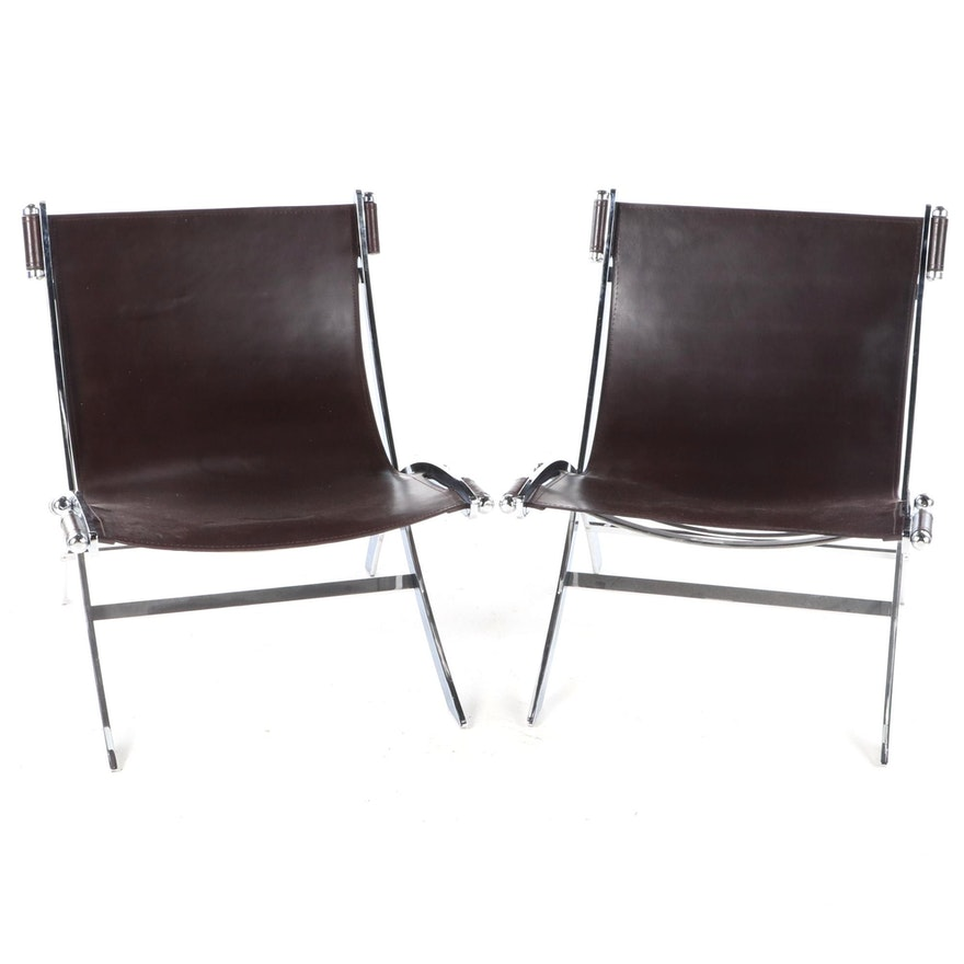 Pair of Modernist Style Chrome Metal and Faux Leather Scissor Sling Chairs