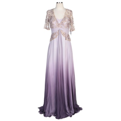 Alberto Makali Lavender Ombré Silk Blend Gown with Metallic Lace Beaded Overlay