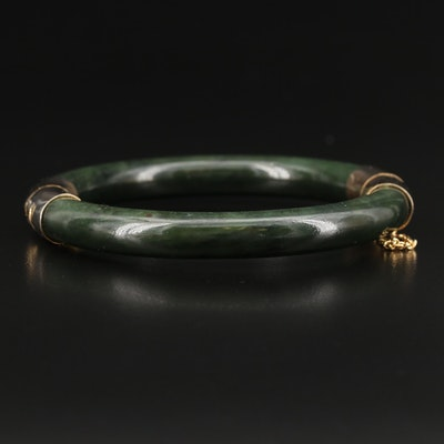 Vintage Hinged Nephrite Bangle