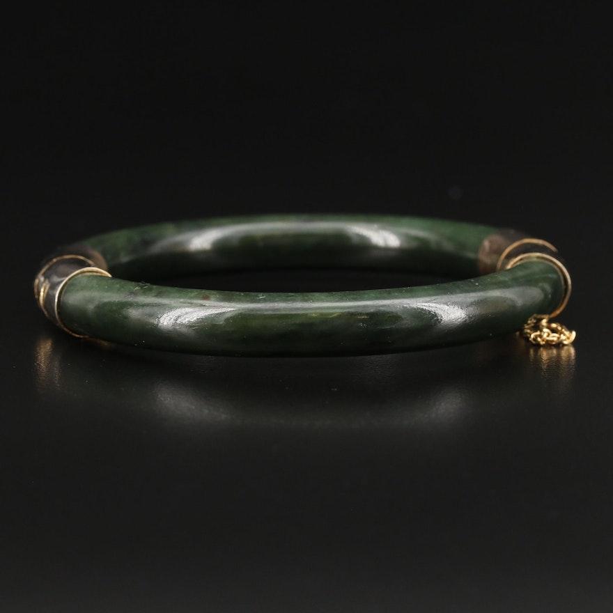 Vintage Hinged Nephrite Bangle