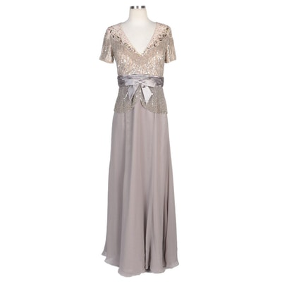 Alberto Makali Taupe V-Neck Gown with Beaded Bodice Overlay