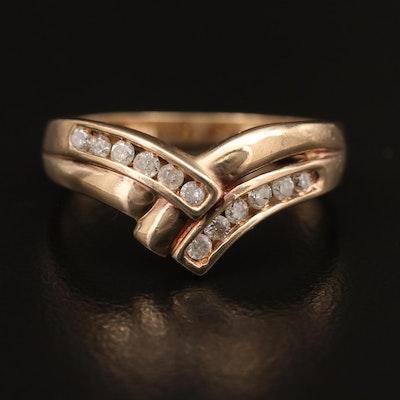 10K Channel Set Diamond Crossover Ring