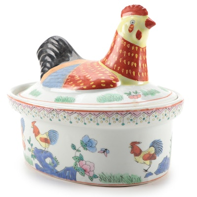 Chinese Famille Rose Chicken Tureen, 20th Century