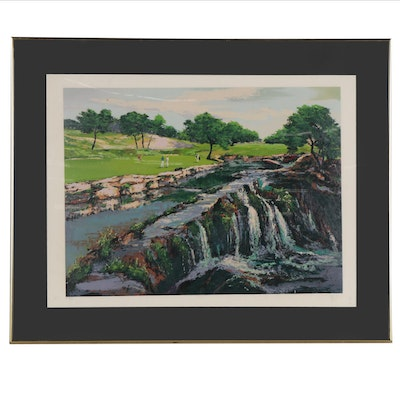"Mark King Serigraph ""Hills of Lakeland #7 Waterfall,"" 1991"