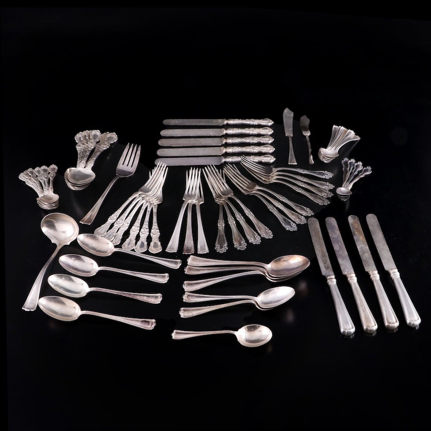 """Rogers Bros. """"Cromwell"""", """"Faneuil"""" and R. Wallace """"Floral"""" Silver Plate Flatware"""