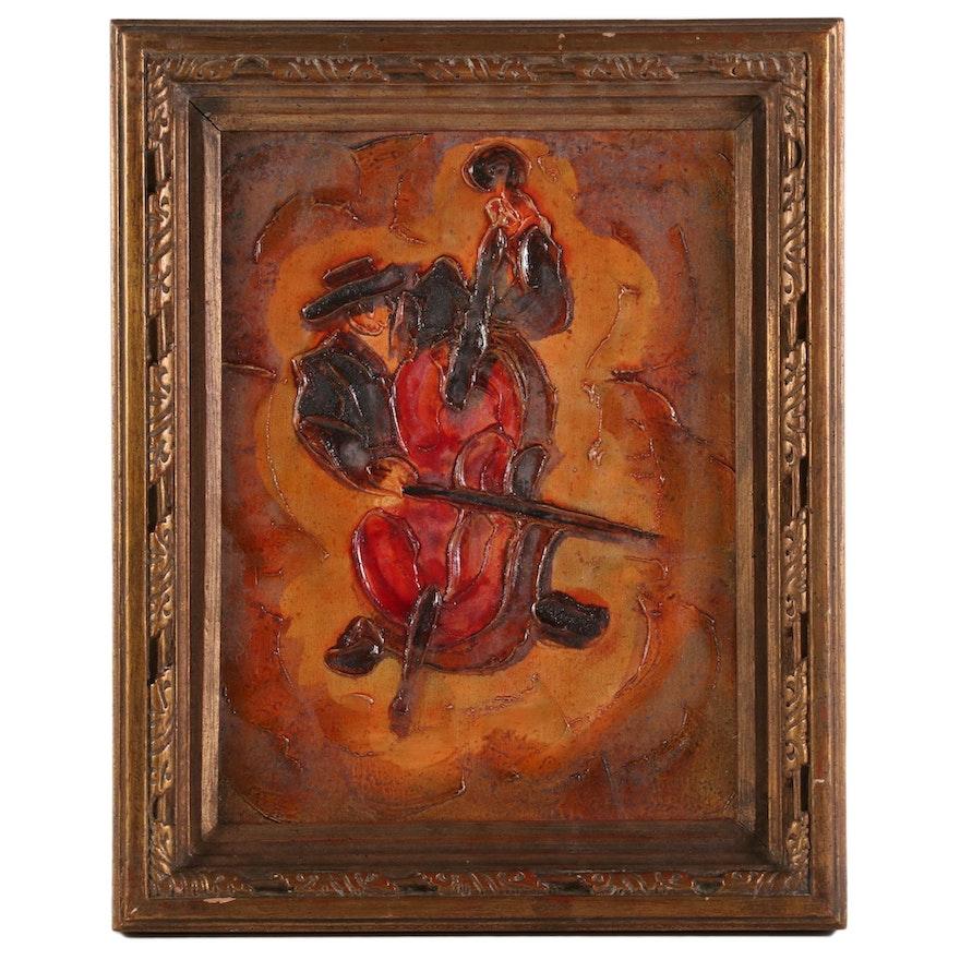 Cello Player Impasto Oil Painting, 21st Century