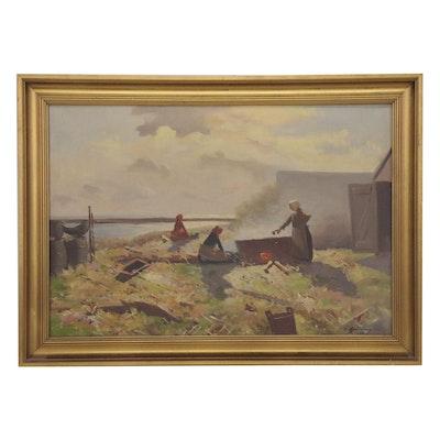 Henning Bjärdam Coastal Genre Scene Oil Painting, 1939