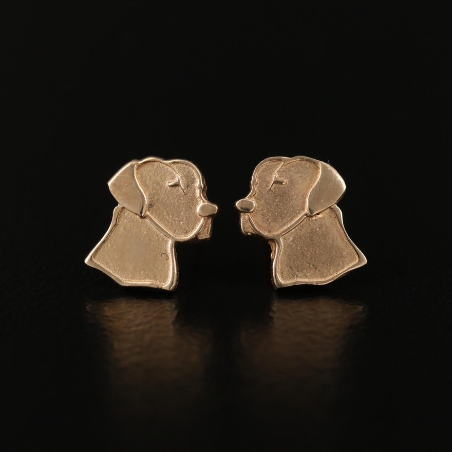 10K Hound Stud Earrings