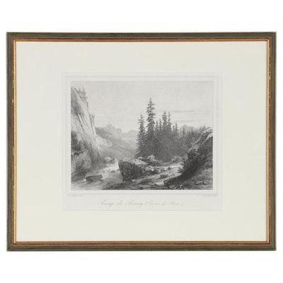 """Alexandre Calame Restrike Lithograph """"Passage du Brunig (Canton de Berne)"""""""