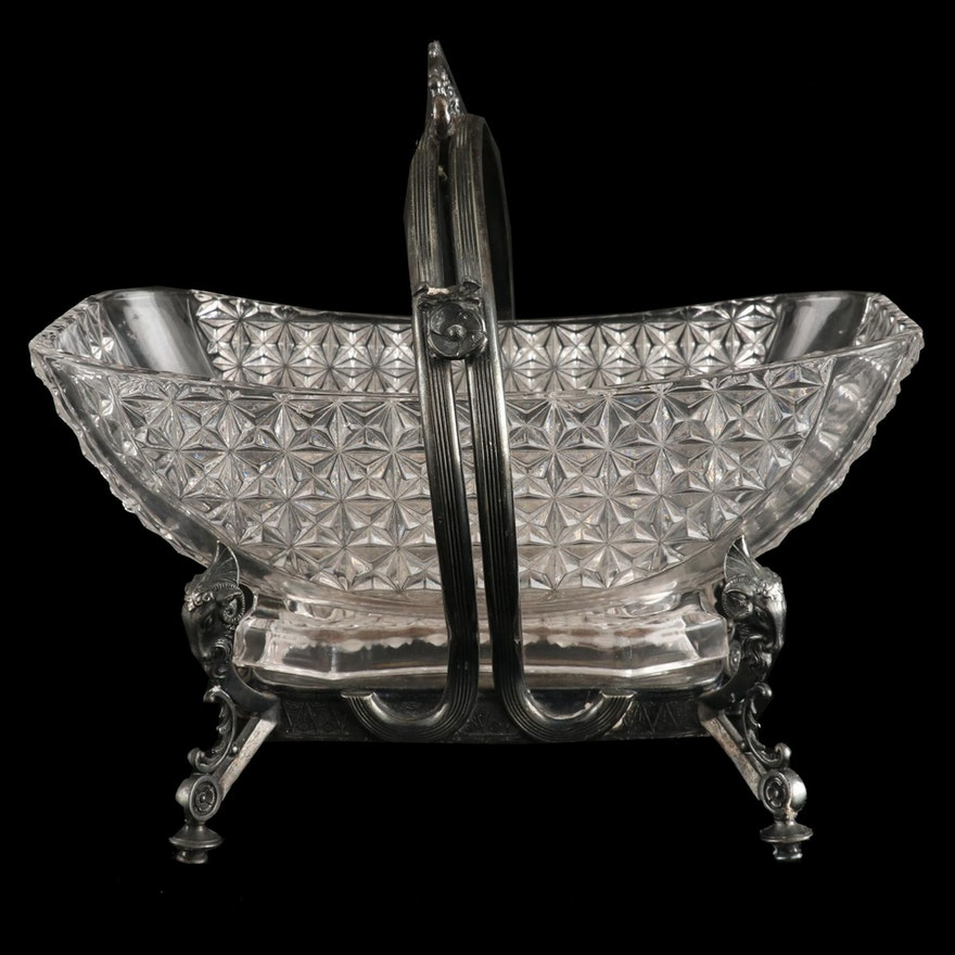 Wilcox Silver Plate and Glass Footed Candy Dish