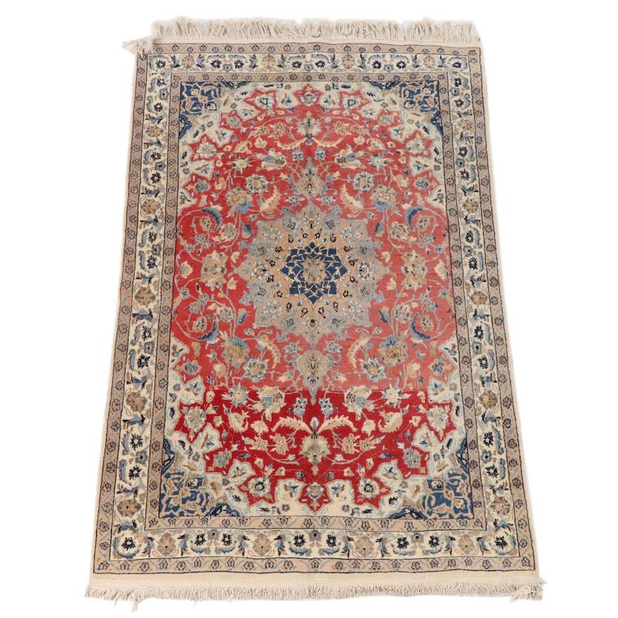 4'2 x 6'9 Hand-Knotted Indo-Persian Isfahan Wool Rug